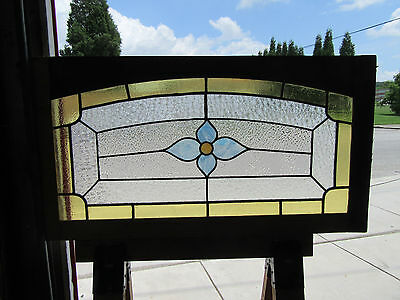 Antique  American Stained Glass Transom Window ~ 36 X 17~ Architectural Salvage
