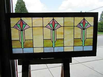 ~ Antique Stained Glass Transom Window ~ 48 X 24 ~ Architectural Salvage