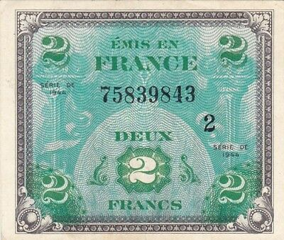 EF 1944 France 2 Francs Allied Military Currency Note, Block #2, Pick 114b