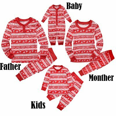Family Matching Christmas Pajamas PJs Sets Xmas Deer Printed Sleepwear Nightwear
