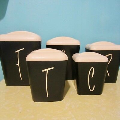 5 Vintage Gay Ware Black & White Kitchen Canisters Fabulous Retro Condition