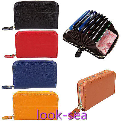 Leather Credit Card Holder Protection Case RFID Blocking Thin Wallet Unsiex