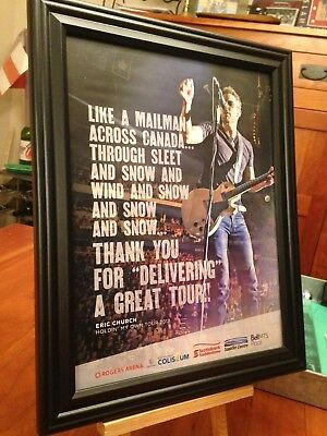 "6 BIG 10x13 FRAMED ERIC CHURCH ""HOLDIN' MY OWN TOUR 2017"" LP CD ALBUM PROMO ADS"