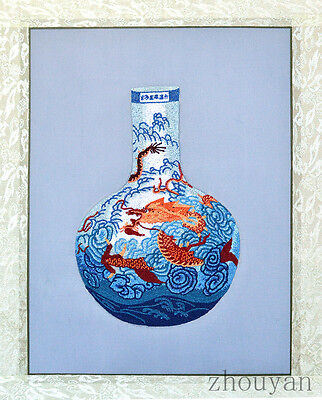 """20"""" Brocaded Chinese Traditional Silk Embroidery Painting: Dragon In Ocean Jar -"""