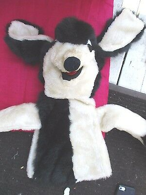 Vintage Large Wile E. Coyote Furry Black White Plush Hand Puppet 22 Inches