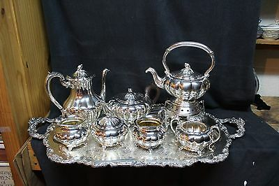 Sheffield Melon 8 Pc. Silverplate Coffee & Tea Service Set w/ Tray