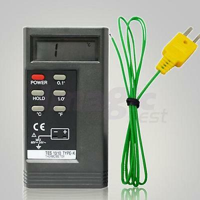 TES 1310 Digital Thermometer Reader Meter Tester with K Type Temperature Probe