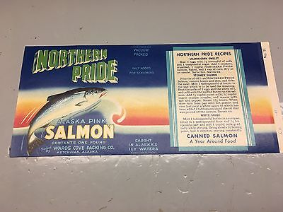 Vintage Northern PrideALASKA PINK SALMON Can Label - Wards Cove Packing Co. AK