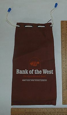 BANK OF THE WEST - The Open-Minded Bank - Brown Cloth BANK BAG - Draw-String Top