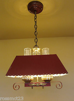 Vintage Lighting matched pair 1940s red hanging lights   Ideal for rustic cabin