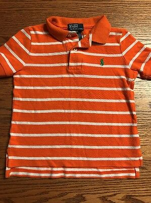 Polo, Ralph Lauren Toddler Boys Size 3T Orange, White Striped Sleeve Polo Shirt