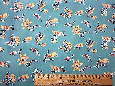 Vintage Cotton Fabric 40s SWEET Lil Red Yellow and White Posies 35w 1yd