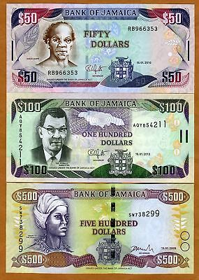 SET Jamaica, $50;100:500 2004-2010, P-New, UNC