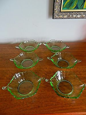 6 x Uranium Green  Dessert Dishes/Bowls  Winged Handles Lovely Condition