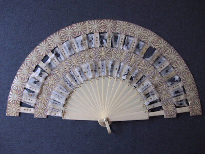 Antique Great Design Hand Painted Flowers Creamy Celluloid Brise Hand Fan