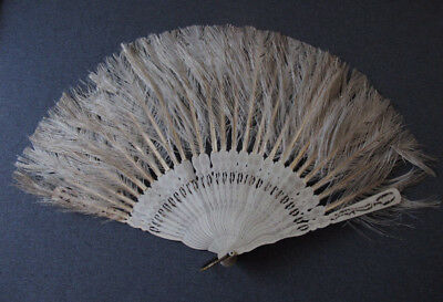 Antique Nice Design Feathers & Painted Filigree Wooden Brise Hand Fan
