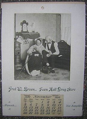 """1899 Fred W. Brown...Town Hall Drug Store 10x14"""" Calendar, Plymouth, N.H."""