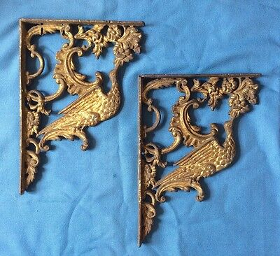 Vintage 19th century ornate Victorian Cast Iron Gold Wall Brackets - Herons