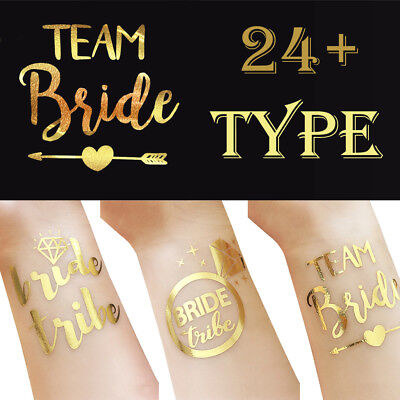 TEAM BRIDE TEMPORARY TATTOOS Rose Gold Funky Hen Party / Night Accessories