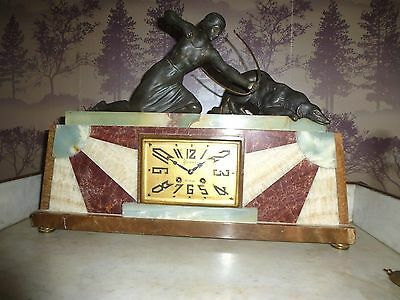 French Art Deco Marble Clock With Spelter Diana Figure