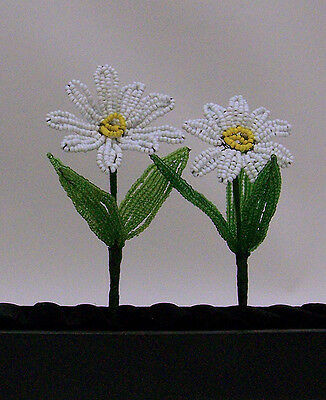 Vintage French Beaded White Daisy Flowers Wedding Crafts Party Favor Gift Decor