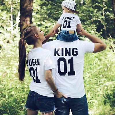 Couple T-Shirt Family T-shirt King & Queen Print Family Love Matching Casual Tee