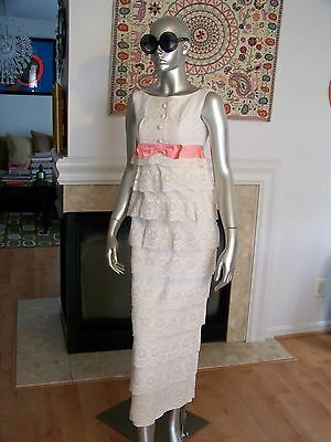 Vtg rare HIPPIE Boho LACE Prom TIERED Bow EMPIRE Maxi DRESS AMAZING!