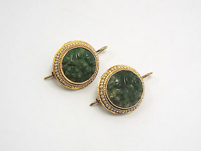 Antique 14K Yellow Gold Seed Pearls & Carved Green Stone Wire Back Earrings