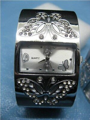 12 Women Beautiful Butterfly Carved Bangle Cuff Watches