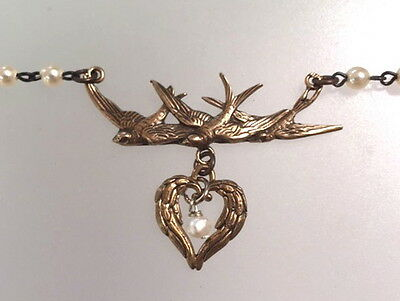 FRENCH Bronze ANGEL Wing HEART Triple SPARROW BIRD Charm Necklace PEARL Pendant-