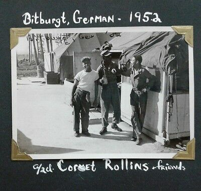 1952 Photograph of 3 Black African American Soldiers stationed  Bitburgh Germany