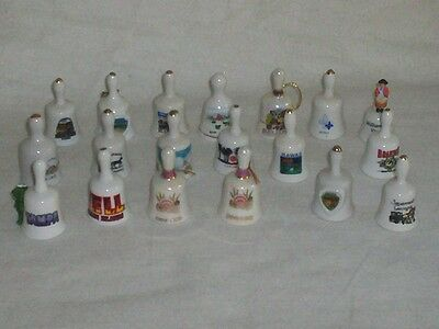 Collectible Porcelain Miniature Bells Lot Of 15