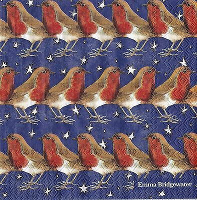 Emma Bridgewater paper 20 Napkins Christmas Robin on a Starry Night