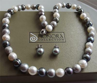 Honora Cultured Fw Pearl Sterling Silver Necklace Earrings Set New Bag Boxed Qvc