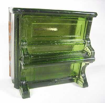 Antique GREEN Glass Candy Container Figural Upright Piano w/Tin Bank Back