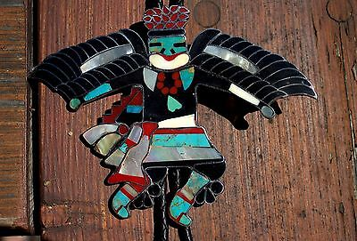 Large Vintage Zuni Sterling Silver & Turquoise Shell Coral BIRD DANCER Bolo Tie