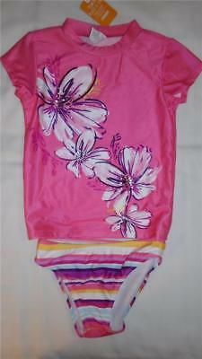 NEW Girls Size 5-6 Gymboree Swimsuit Floral Rash Guard Top & Striped Bottoms NWT