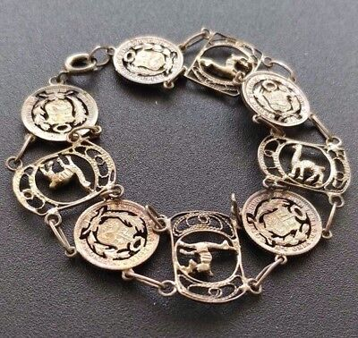 Peru Gorgeous Artisan Cut Outs Of Early 1900s 1/2 Dinero Coins & Llama Bracelet