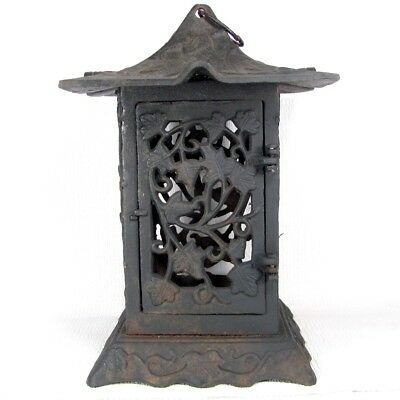 Vtg JAPANESE GARDEN LANTERN Tea Ceremony Light Cast Iron Lamp Leaf Vine Design