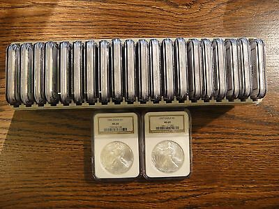 Complete Set of (22) United States American Eagle Silver Dollars. NGC MS69.