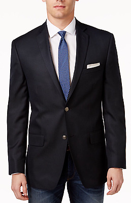 40R New Alfani Mens Black Solid Slim Fit Blazer Sport Coat $250