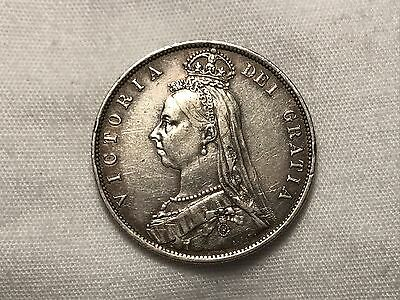 "1887 Victoria ""Jubilee Head"" Great Britain Half Crown Sterling Silver"