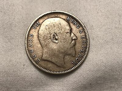 1906 Edward VII British India 1 One Rupee Silver Coin
