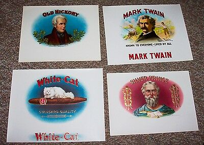 4 Vintage  INNER CIGAR BOX LABELS, OLD  ORIGINAL LITHOGRAPH