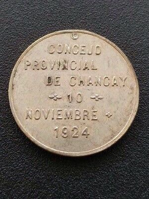 Peru Silver Medal 50th Anniversary Of Huacho In Chancay Province 1924 AU