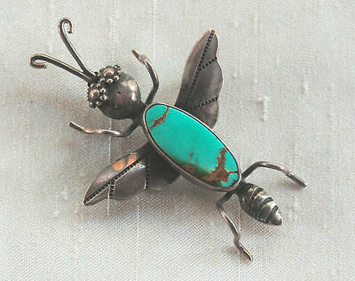 Navajo-Style Sterling Silver Turquoise Big Bug/Flying Insect Pin~Signed Joe Eby