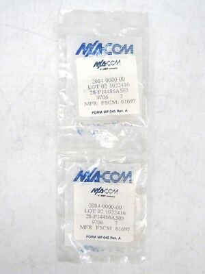 Lot of 2 M/A COM 2084-0000-00 Female-Female Straight RF SMA Connector Adapter