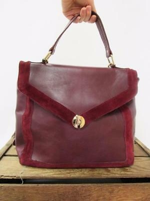 TOPSHOP Cordovan Red / Maroon Leather 1970s Style Messenger Shoulder Bag Purse
