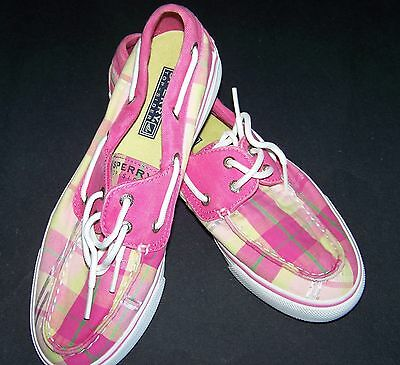 Sperry Top-sider pink plaid boat shoes womens size 7