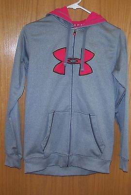 Under Armour grey gray pink hoodie zip up sweatshirt womens size small S